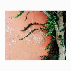 Background Stone Wall Pink Tree Small Glasses Cloth (2-Side)