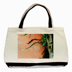 Background Stone Wall Pink Tree Basic Tote Bag (Two Sides)