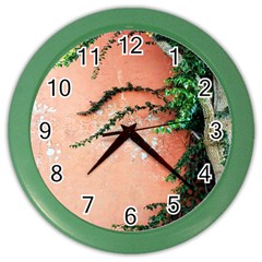 Background Stone Wall Pink Tree Color Wall Clocks