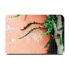 Background Stone Wall Pink Tree Small Doormat