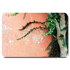 Background Stone Wall Pink Tree Large Doormat