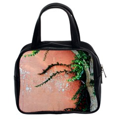Background Stone Wall Pink Tree Classic Handbags (2 Sides)