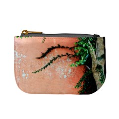 Background Stone Wall Pink Tree Mini Coin Purses