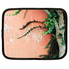 Background Stone Wall Pink Tree Netbook Case (XL)