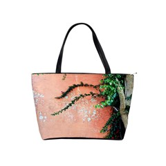 Background Stone Wall Pink Tree Shoulder Handbags