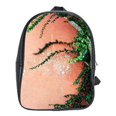 Background Stone Wall Pink Tree School Bags(Large)