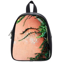 Background Stone Wall Pink Tree School Bags (Small)