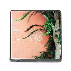 Background Stone Wall Pink Tree Memory Card Reader (Square)