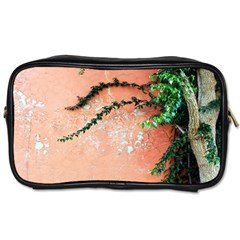 Background Stone Wall Pink Tree Toiletries Bags