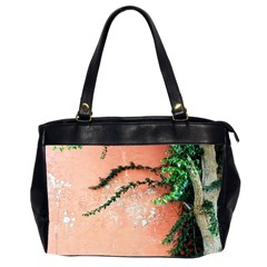 Background Stone Wall Pink Tree Office Handbags (2 Sides)