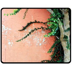 Background Stone Wall Pink Tree Fleece Blanket (Medium)