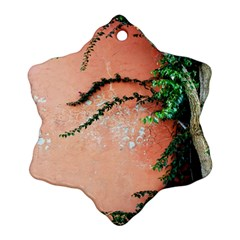 Background Stone Wall Pink Tree Snowflake Ornament (2-Side)