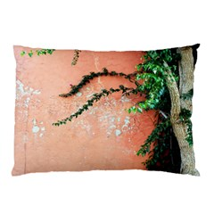 Background Stone Wall Pink Tree Pillow Case (Two Sides)