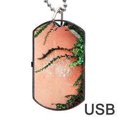 Background Stone Wall Pink Tree Dog Tag USB Flash (Two Sides)