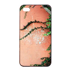 Background Stone Wall Pink Tree Apple iPhone 4/4s Seamless Case (Black)