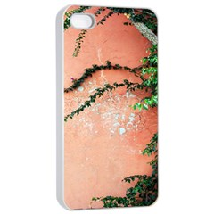 Background Stone Wall Pink Tree Apple iPhone 4/4s Seamless Case (White)