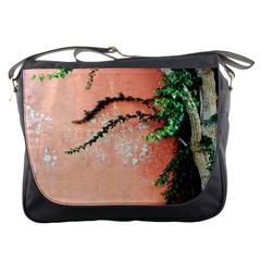 Background Stone Wall Pink Tree Messenger Bags