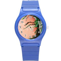 Background Stone Wall Pink Tree Round Plastic Sport Watch (S)