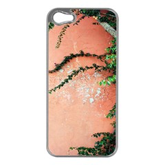 Background Stone Wall Pink Tree Apple iPhone 5 Case (Silver)