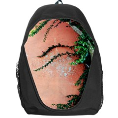 Background Stone Wall Pink Tree Backpack Bag