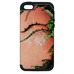 Background Stone Wall Pink Tree Apple iPhone 5 Hardshell Case (PC+Silicone)
