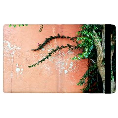 Background Stone Wall Pink Tree Apple iPad 2 Flip Case
