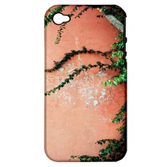 Background Stone Wall Pink Tree Apple iPhone 4/4S Hardshell Case (PC+Silicone)