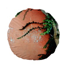 Background Stone Wall Pink Tree Standard 15  Premium Round Cushions