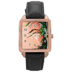 Background Stone Wall Pink Tree Rose Gold Leather Watch