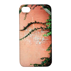 Background Stone Wall Pink Tree Apple iPhone 4/4S Hardshell Case with Stand