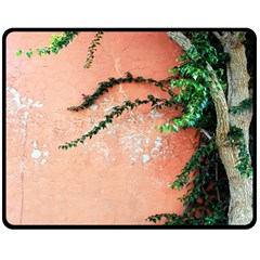 Background Stone Wall Pink Tree Double Sided Fleece Blanket (Medium)