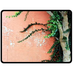 Background Stone Wall Pink Tree Double Sided Fleece Blanket (Large)