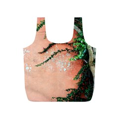 Background Stone Wall Pink Tree Full Print Recycle Bags (S)