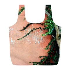Background Stone Wall Pink Tree Full Print Recycle Bags (L)