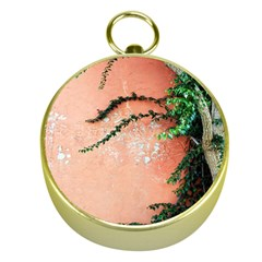 Background Stone Wall Pink Tree Gold Compasses