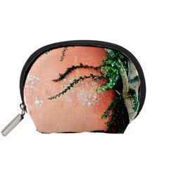 Background Stone Wall Pink Tree Accessory Pouches (Small)