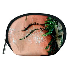 Background Stone Wall Pink Tree Accessory Pouches (Medium)