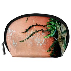 Background Stone Wall Pink Tree Accessory Pouches (Large)