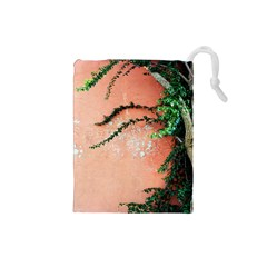 Background Stone Wall Pink Tree Drawstring Pouches (Small)