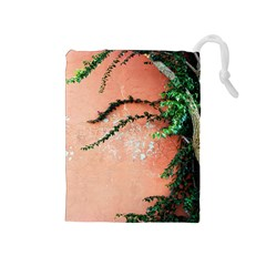 Background Stone Wall Pink Tree Drawstring Pouches (Medium)