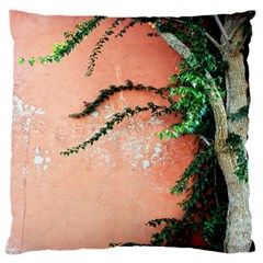 Background Stone Wall Pink Tree Large Flano Cushion Case (Two Sides)