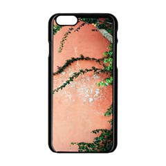 Background Stone Wall Pink Tree Apple iPhone 6/6S Black Enamel Case