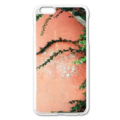 Background Stone Wall Pink Tree Apple iPhone 6 Plus/6S Plus Enamel White Case