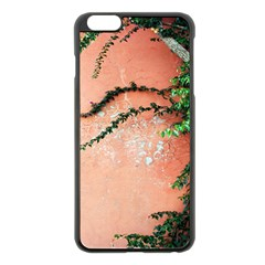 Background Stone Wall Pink Tree Apple iPhone 6 Plus/6S Plus Black Enamel Case