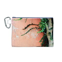 Background Stone Wall Pink Tree Canvas Cosmetic Bag (M)