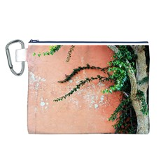 Background Stone Wall Pink Tree Canvas Cosmetic Bag (L)