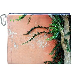 Background Stone Wall Pink Tree Canvas Cosmetic Bag (XXXL)