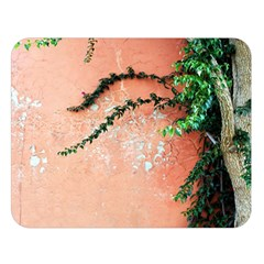 Background Stone Wall Pink Tree Double Sided Flano Blanket (Large)