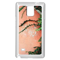 Background Stone Wall Pink Tree Samsung Galaxy Note 4 Case (White)