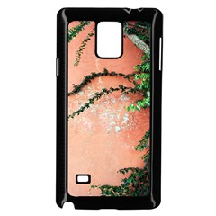 Background Stone Wall Pink Tree Samsung Galaxy Note 4 Case (Black)